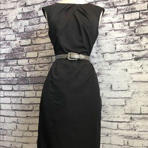 Sandra Darren Black Striped Silver Belted Dress